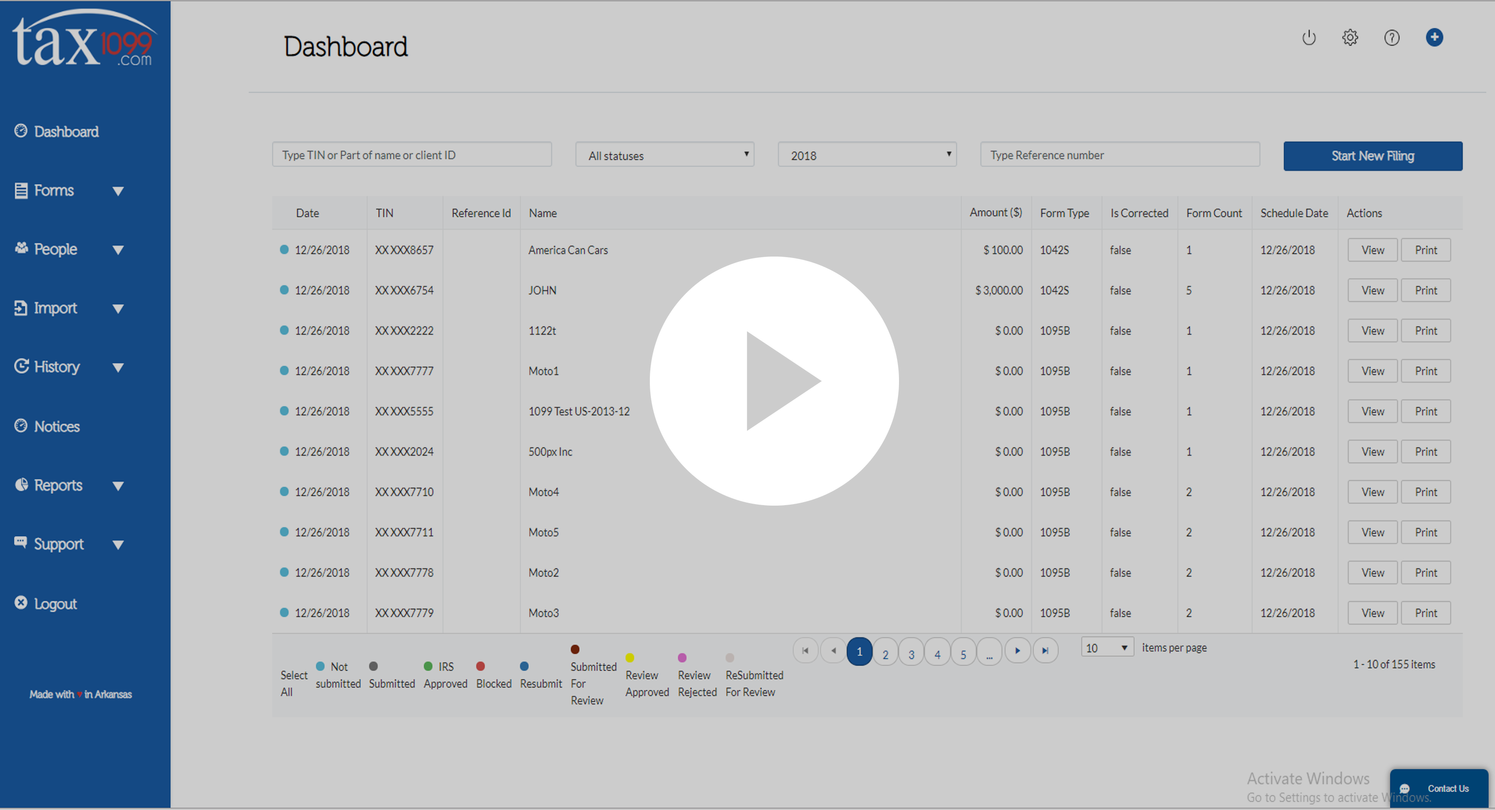 Tax1099 Dashboard Demo