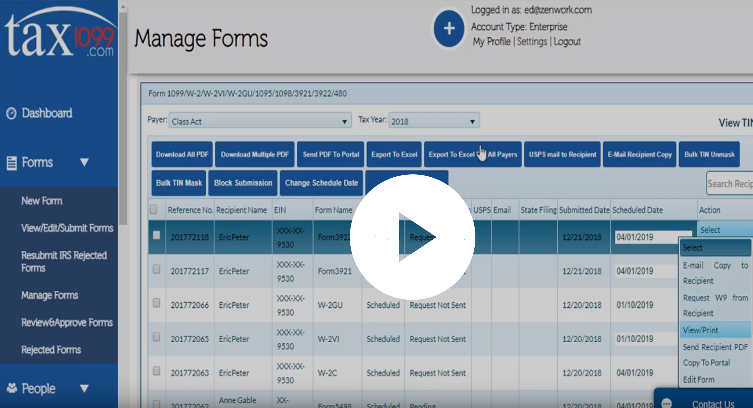 Tax1099 Manage Forms Demo