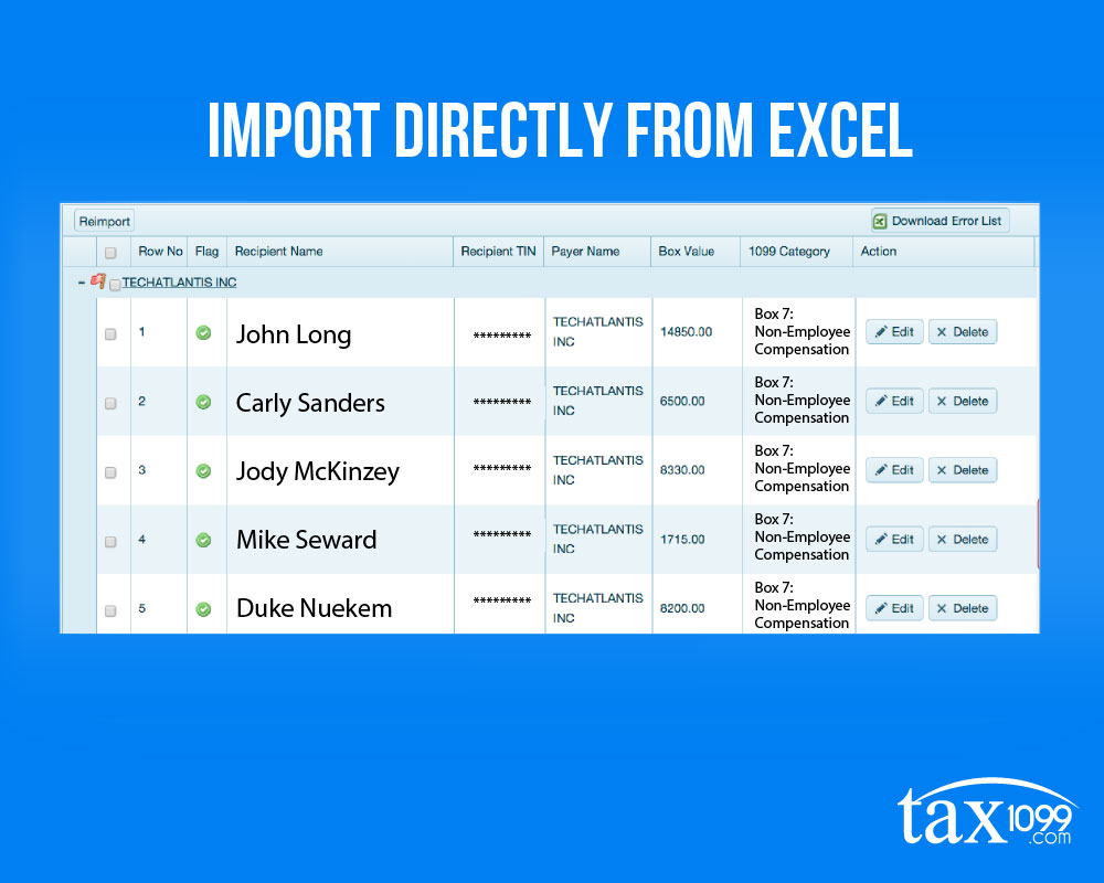 Sync Your 1099 Vendors From Excel To Tax1099 Com In A